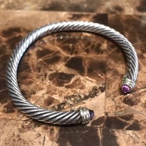 David Yurman Jewelry - David Yurman Amethyst Cable Cuff Bracelet 14k Gold